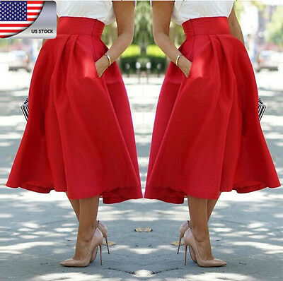 Womens Fashion Stretch High Waist Dress Flared Pleated Swing Long Middle Skirt