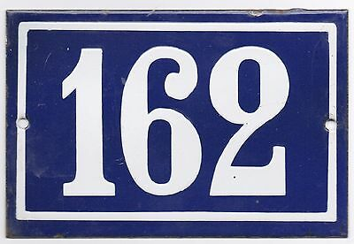 Old blue French house number 162 door gate plate plaque enamel metal sign steel
