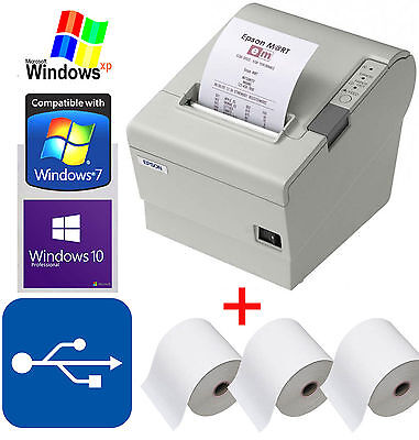 Kassendrucker Epson Tm-T88Iv Pos + 3 Kassenrolls Bis Windows 2000 Xp 7 8 10 88-7