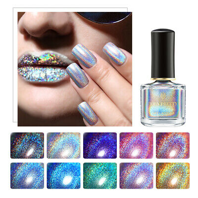 6ml Holographic Nail Polish Shiny Long-lasting Holo Polish Varnish Silver Purple