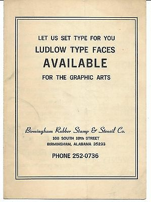 1960s Birmingham Alabama Ludlow Typefaces from Birmingham Rubber Stamp Co.