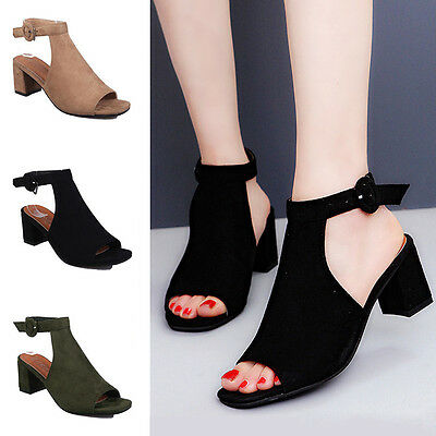 Women Ladies Block Peep Toe Buckle  Cut Out Strap Mid Chunky Heel Sandals  Shoes