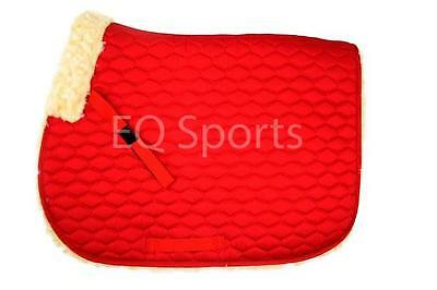 FAST P&P Quality Full Fleece Faux Sheepskin Saddlecloth Red
