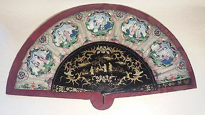 19th Century CHINESE HANDPAINTED PAPER & GILT LACQUERED STICKS HAND FAN