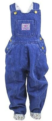 Girls Teddy Bear Applique Floral Lined Denim Dungarees Pants Trousers 2-5 Years
