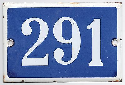 Old blue French house number 291 door gate plate plaque enamel metal sign steel