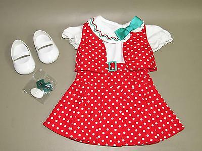 American Girl Kit Reporter Dress Outfit - Hair Clip Dress Shoes Nib Please Read