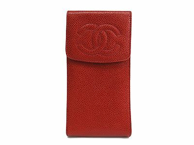 Auth CHANEL Glasses case Caviar Skin Red (BF109032)