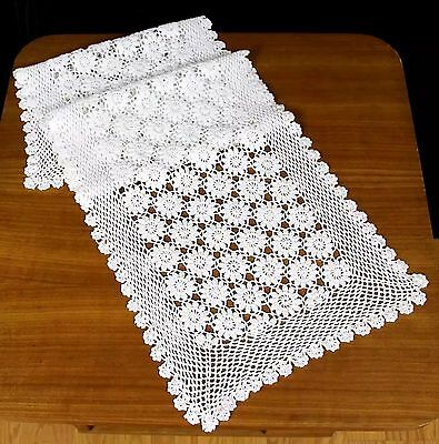 """VINTAGE WHITE COTTON HANDCROCHED FLOWER LACE DRESSER SCARF TABLE RUNNER 12""""x40"""""""