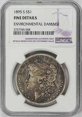 1895-S $1 Morgan Silver Dollar - NGC Genuine Fine Details - Rare Coin