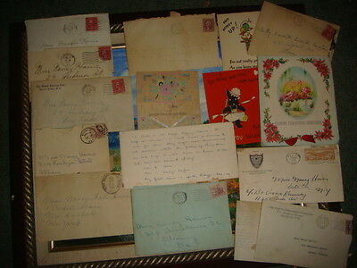 Lot of 46 Letters, Cards, Telegrams 1930's One Individual Person Love & Friends