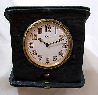 1920/30s Mappin Travel Clock in Black Leather Snap Shut Case SWISS MADE WORKING