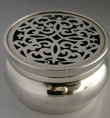 Quality Unusual English Sterling Silver Box With Blue Glass Inset Lid 1998