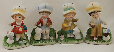HOMCO Boys Girls Puppies Kittens Figurines Porcelain Set of 4-- #1430