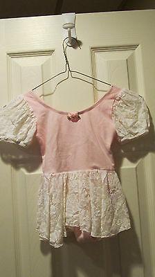 Pink Diane Imbler Wearables White Lace Skirted Leotard W Satin Flowers  Sz  S