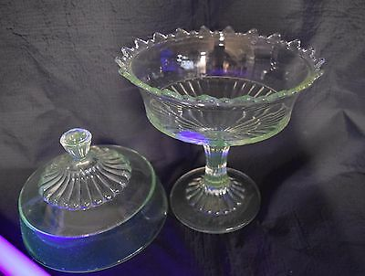 """Flint Pressed Glass Covered Compote Lid Footed Ribbed 13"""" EAPG Antique Candy"""