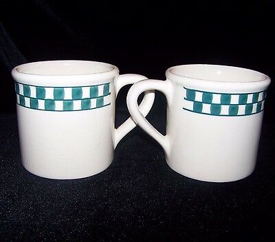 Hartstone Green Checks Checkmate Mugs Set of 2 Vintage Stoneware Diner