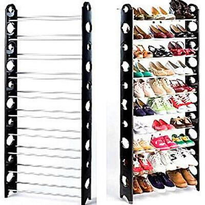 10 Tier Space Saving Storage Organizer 30 Pair Shoe Tower Rack Free Standing US