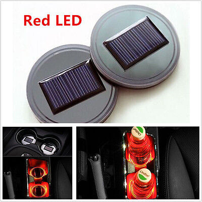 2pc Solar Energy Car Red LED Cup Bottle Holder Bottom Pad Cover Mat Trim