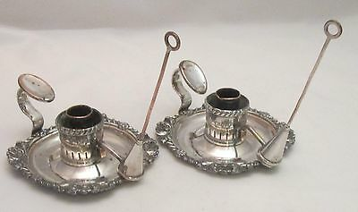 A Good Pair of Small Old Sheffield Plated Chamber Candlesticks - c1800