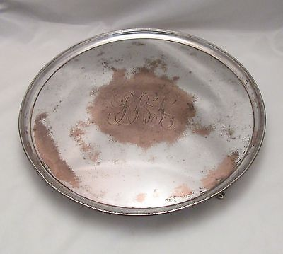 A Very Large Round Old Sheffield Plate Tray - c1780 - Engraved