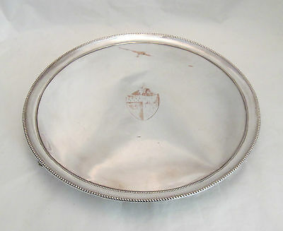 A Large Round Old Sheffield Plated Tray with Coat of Arms - c1780