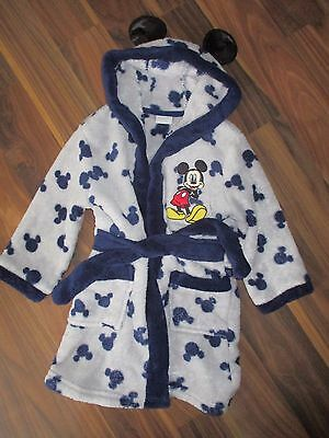 Boys MICKEY MOUSE grey bathrobe dressing gown 18-24 months - Disney at Miniclub