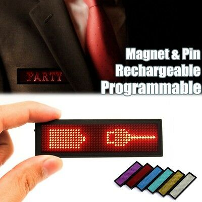 MECO Recharge LED Programmable Digital Scrolling Message Name Tag Badge Magnet