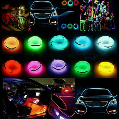 1/2/3M Led Flexible EL Wire Neon Glow Light + 3V/12V/USB Controller Party Decor