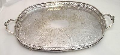 A Good Vintage Silver Plated Tray with Galleried Edge - Chased Detail - c1900