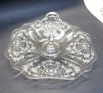 Cambridge Glass Diane Etch Cake or Sandwich Plate Keyhole Center Handle