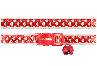 Ancol Cat Reflective & Elasticated Collar Gloss Red + Silver Shiny Hearts 673620