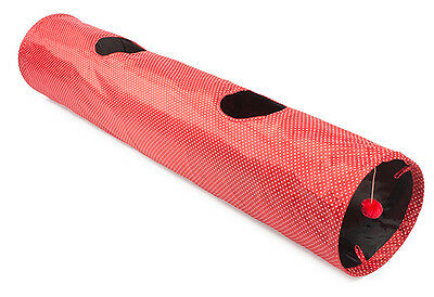 Ancol Acticat Red Polka Dot Play Tunnel Attached Toy 130 Cm Crinkle Material