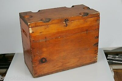 Antique TRAMP ART Hand Made Wooden Wine Beer Cooler Ice Box Top Holds Glasses