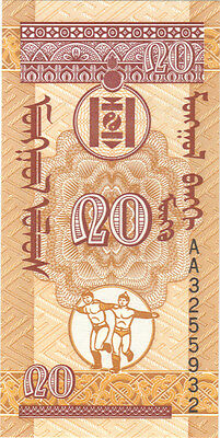 1993 20 Mongo Mongolia Currency Gem Unc Banknote Note Money Bank Bill Cash Asia