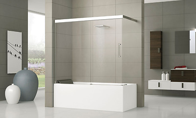 Aurora 4 Novellini.Novellini Aurora 4 Centre Wall Twin Folding Bath Screen 2