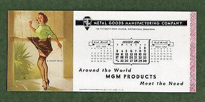 "MGM PRODUCTS Unused Blotter - 3⅞""x9"", Oct 1954, GIL ELVGREN Pin Up, Great Cond"