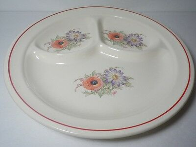 """Vintage 1940s Universal Cambridge China Camwood Ivory DIVIDED 9 3/4"""" GRILL PLATE"""