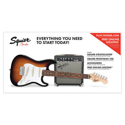 Fender Squier Strat SS (Short Scale) Pack, Brown Sunburst (NEW)