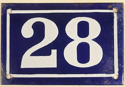Old blue French house number 28 door gate plate plaque enamel metal sign c1950