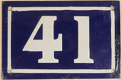 Old blue French house number 41 door gate plate plaque enamel metal sign c1950