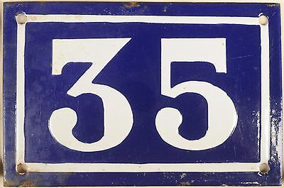 Old blue French house number 35 door gate plate plaque enamel metal sign c1950