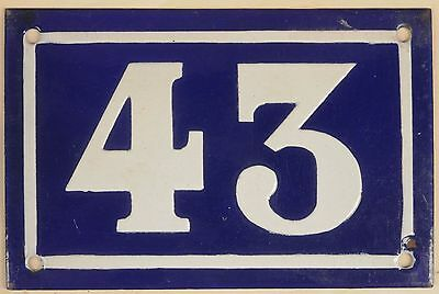 Old blue French house number 43 door gate plate plaque enamel metal sign c1950