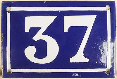 Old blue French house number 37 door gate plate plaque enamel metal sign c1950