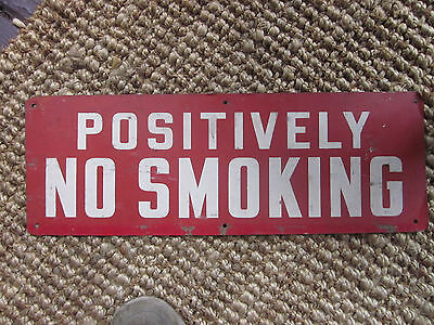 Vintage 1940s No Smoking Metal Sign  Industrial Loft Gas Station Factory