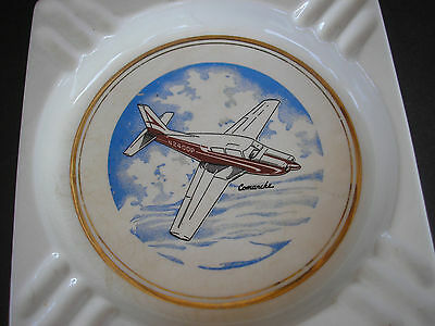 "Vintage Porcelain Table Ashtray with Airplane ""Comanche"" Decal - 7 1/4"""
