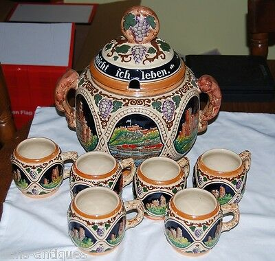 German stoneware Punch Bowl Tureen Set With 6 Cups - Made in Germany