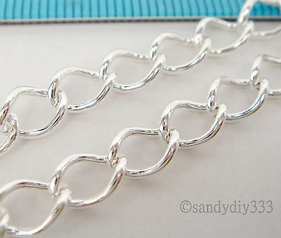 """12"""" (12 inches) x STERLING SILVER CABLE OVAL LINK CHAIN 5.2mm footage open #1877"""
