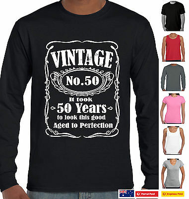 Funny T Shirts 50th Birthday 1969 Vintage Age To Perfection 50 Years Long Sleeve