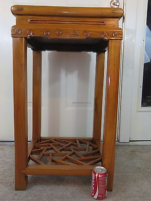 Very rare Chinese late qing antique large elmwood display stand